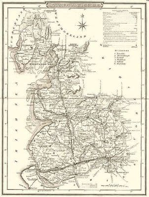LANCASHIRE. County map. Polling places. Coach roads. DUGDALE 1845 old